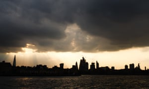 Dark clouds over the City of London.