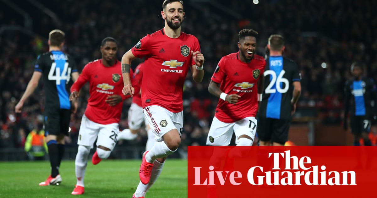 Manchester United 5-0 Club Brugge (6-1 agg): Europa League últimos 32 - ¡en vivo! El | Fútbol americano 36