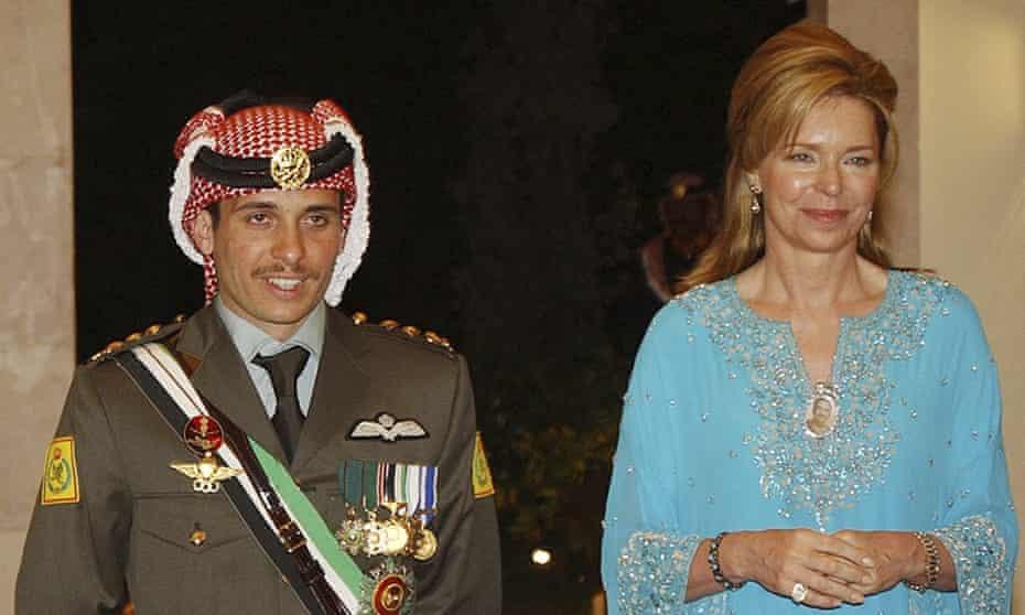 Jordan's Prince Hamzah, left, with his mother Queen Noor.
