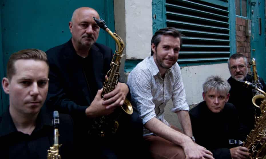 Gwilym Simcock, centre, with the Delta Saxophone Quartet.