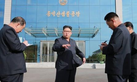 Kim Jong Un visiting a water factory in Pyongyang last week.
