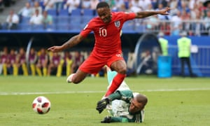 Raheem Sterling in action for England during the World Cup.