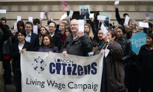 Government cleaners and civil servants protest outside the Foreign and Commonwealth Office.