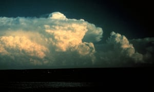 An 'overshooting top' protrudes above an anvil cloud, a sign of intense updrafts.
