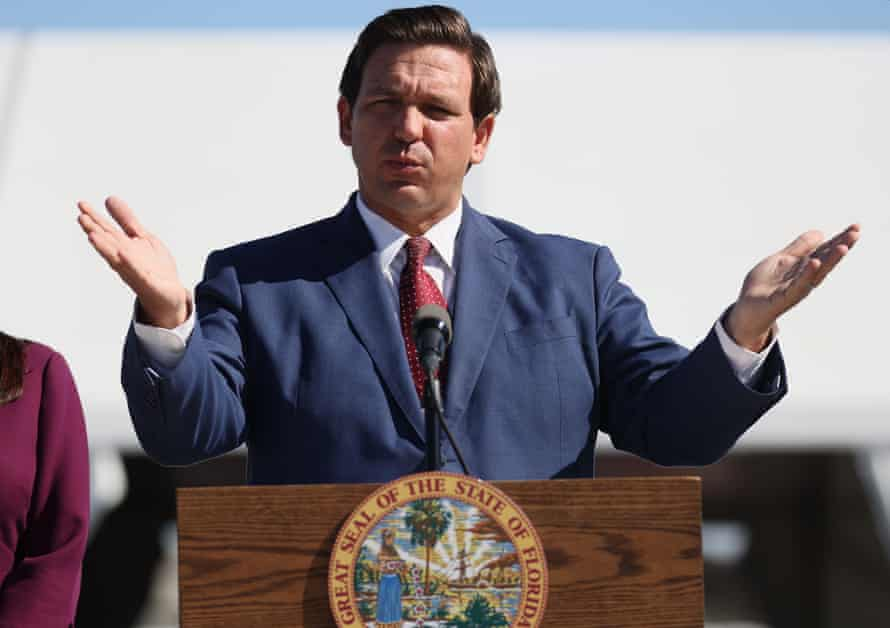The Florida governor, Ron DeSantis, speaks during a press conference on 6 January 2021