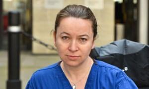 Rachel Clarke taking part in a sit-in outside the Department of Health, London, in 2016.