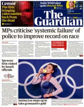 Guardian front page Friday 30 July 2021