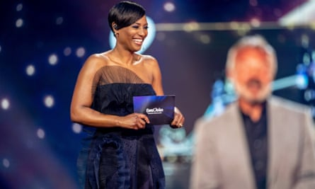 Host Edsilia Rombleyt presents the Eurovision's Europe Shine A Light remote television show, in Hilversum, Netherlands.