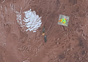Mars express orbiter flying over the south pole of Mars. The radar signals are colour coded and deep blue corresponds to the strongest reflections, which are interpreted as being caused by the presence of water.