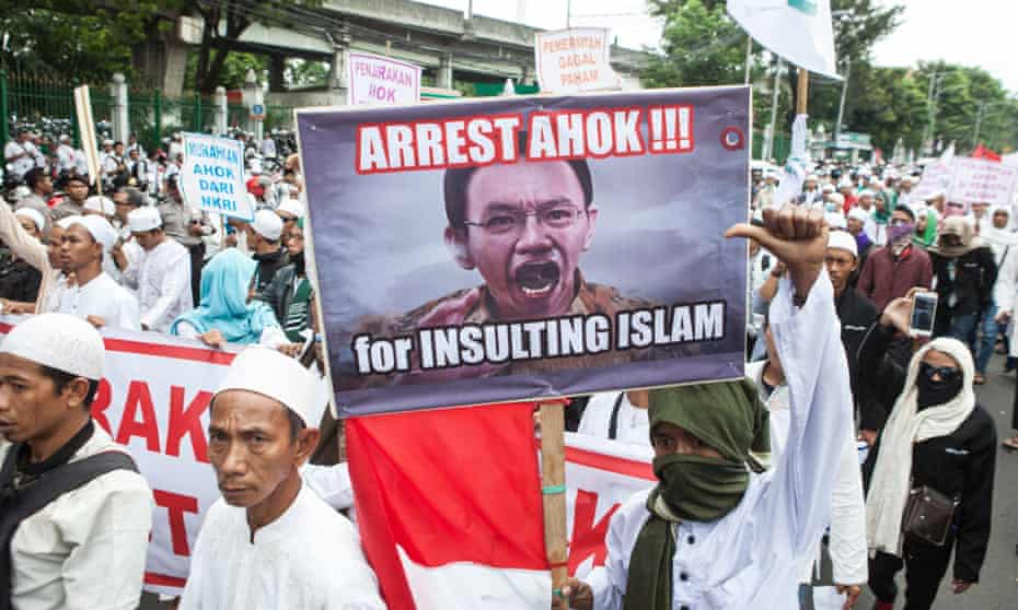 A protest by hardline Muslims against Chinese-Indonesian governor Ahok this month turned violent.