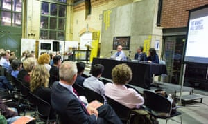 Guardian Live/Discuss debate in Manchester, 30 September 2015. Panel l-r: Steve Davies, chair Philip Inman and Catriona Watson.
