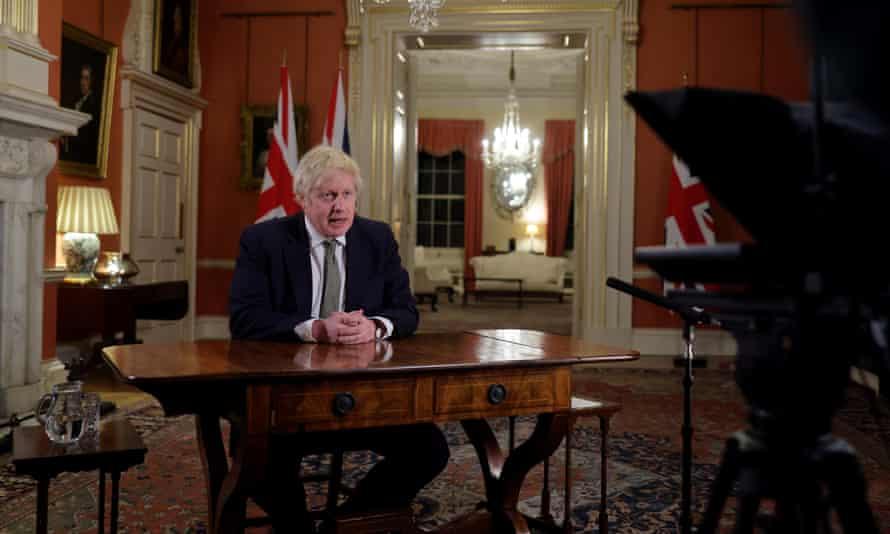 Boris Johnson addressing the nation.
