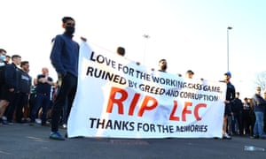 Liverpool fans protest outside Elland Road.
