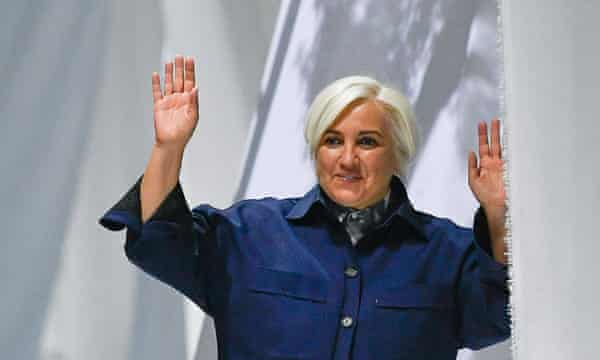 Fashion designer Silvia Fendi waving to a reduced crowd during her scaled-down menswear show in September 2020.