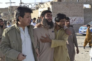 Quetta, PakistanFamily members of trainee police killed in a terrorist attack visit the training centre where they died