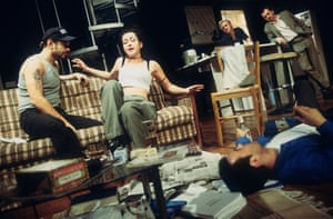Andy Serkis, Susannah Doyle, Daniel Craig, Stephen Dillane and Rupert Graves in Hurlyburly, Old Vic theatre, London, 1997