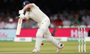 England's Jonny Bairstow is bowled out LBW by Ireland's Mark Adair.