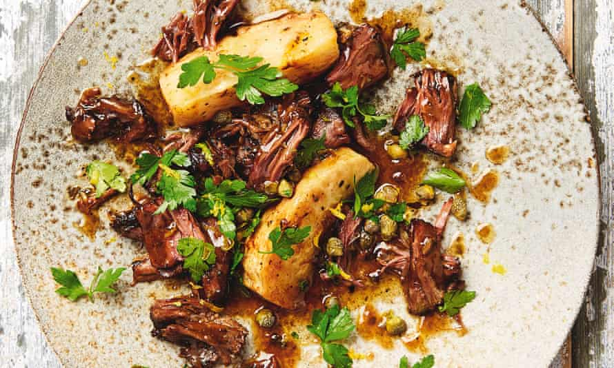 Yotam Ottolenghi's braised oxtail and celeriac with capers and lemon.
