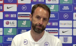 Gareth Southgate speaks at a video conference.