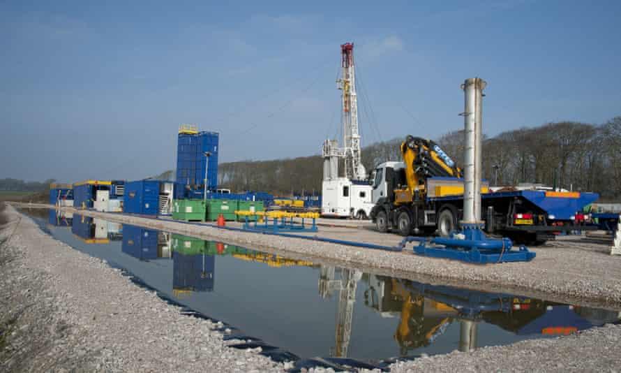 A Cuadrilla shale gas drilling rig at Weeton, Blackpool, Lancashire.