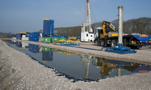 A shale gas drilling rig preparing for 'fracking', near Blackpool in Lancashire, northern England.
