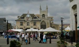 A market in Peterborough city centre