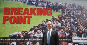 Nigel Farage in front of the 'Breaking Point' poster