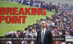 Nigel Farage launching Ukip's controversial Breaking Point poster during the EU referendum.