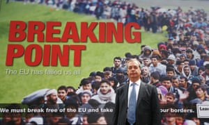 "Nigel Farage in front of his anti-immigration ""breaking point"" poster, 22 June, 2016."