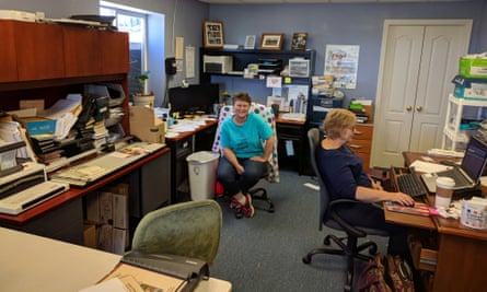 Kimberly Troup, US director of Christian Friends of Israeli Communities, in her basement office.