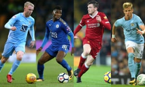 Left to right: Coventry's Jack Grimmer, Leicester's Kelechi Iheanacho, Liverpool's Andrew Robertson and Oleksandr Zinchenko of Manchester City.