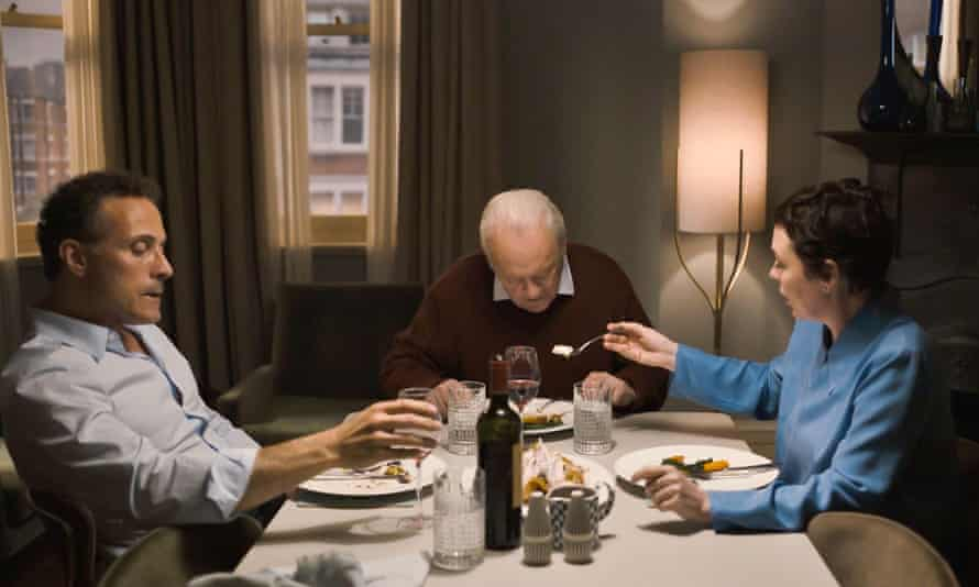 Rufus Sewell, Anthony Hopkins and Olivia Colman in The Father.