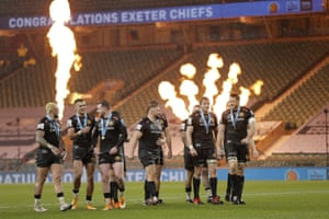 The Exeter Chiefs players savour their victory.