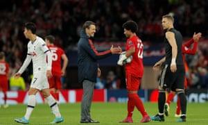 Bayern Munich manager Niko Kovac congratulates four-goal hero Serge Gnabry.