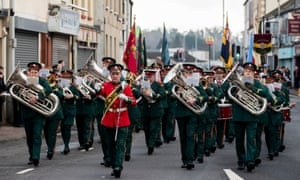 A brass band during a parade through Enniskillen in County Fermanagh.