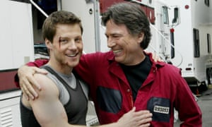 Richard Hatch, right, with fellow actor Jamie Bamber during the remaking of Battlestar Galactica in 2004.
