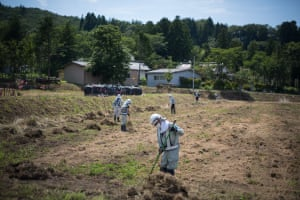 Decontamination work of the radiation spread, in Iitate district, Japan, 14 July 2015.