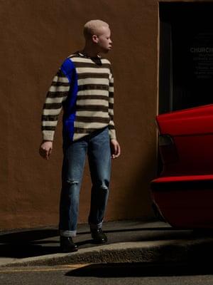 Xaba wears Taplo jumper, £655, Dries Van Noten (selfridges.com); jeans, £225, Dries Van Noten (libertylondon.com); boots, £230, grenson.com.