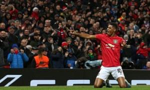 Marcus Rashford of Manchester United celebrates scoring their third goal.