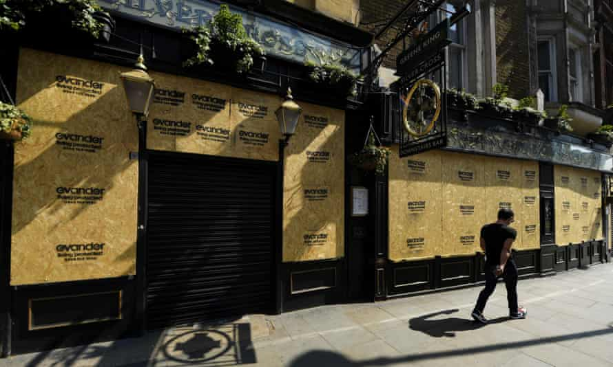 A boarded-up pub in London, 9 April 2020: 'Exceptionalism lies behind the assumption that there was something peculiarly unnatural in expecting Brits to obey drastic restrictions.'