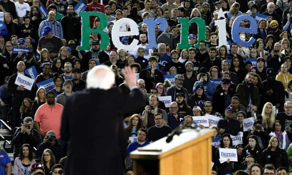 Bernie Sanders told the crowd in Tacoma, Washington: 'We have a corrupt political system which enables billionaires to buy elections. Today we say to Mayor Bloomberg: we are a democracy, not an oligarchy.'