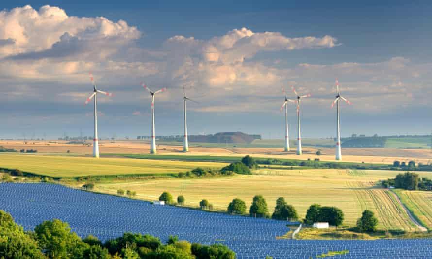 Alternative energy, wind power stations and solar farm, Saxony-Anhalt, Germany