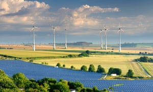wind turbines and solar farm