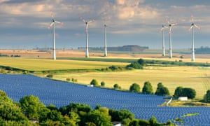 wind power stations and solar farm, Saxony-Anhalt, Germany