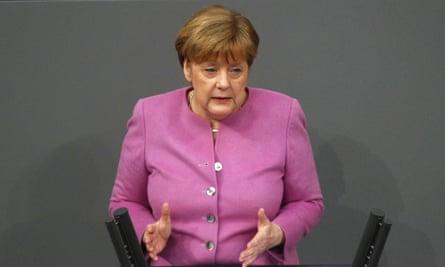 Angela Merkel speaks to the Bundestag