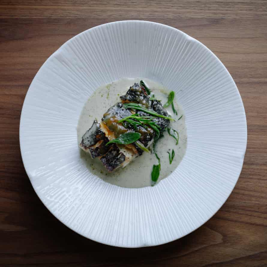 The miso-roasted cod in a seaweed sauce, at the Curlew, East Sussex.