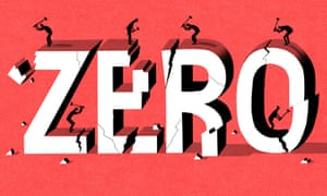 "Illustration of workers demolishing huge 'ZERO"" by Bill Bragg."