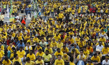 Bersih activists gather on a main road in the capital during a rally in August.