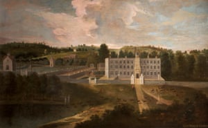 """View of Lyme Hall from the north, early 18th century, British (English) School, National Trust, Lyme Park"""