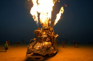 The 'Rabid Transit' Burning Man art car erupts with flames from its onboard propane poofers